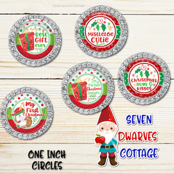 Festive Christmas Unicorn & Friends Fun Sayings One Inch Circles Bottle Cap Sheet - Seven Dwarves Cottage