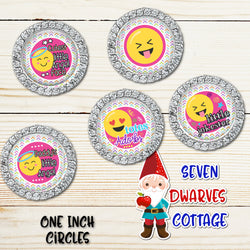 Cute Emoji Sayings One Inch Bottlecap Circles - Seven Dwarves Cottage