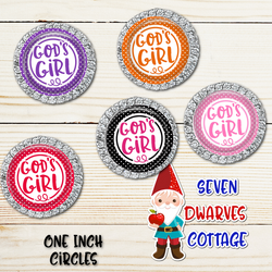 God's Girl Rainbow Colored Polka Dots One Inch Circles Bottle Cap Sheet - Seven Dwarves Cottage