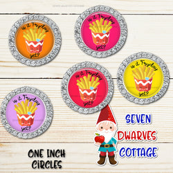 Kawaii Is it FryDay Yet Punny French Fries One Inch Circles Bottle Caps - Seven Dwarves Cottage
