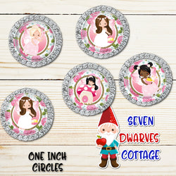 Sweet Pink Floral Fairies One Inch Circles Bottlecap - Seven Dwarves Cottage