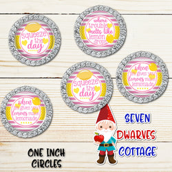 Lemons Inspirational Sayings in Pink and Yellow One Inch Circles Bottlecap - Seven Dwarves Cottage