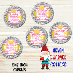 Lemons Family Main Squeeze Pink and Yellow One Inch Circles Bottle Cap - Seven Dwarves Cottage