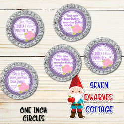 Purple with Pink Roses Christian Bible Saying One Inch Circle Bottle Cap - Seven Dwarves Cottage