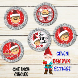 Naughty Silly Christmas Elf Sayings One Inch Circles Bottle Cap Sheet - Seven Dwarves Cottage