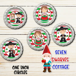 Fiesta Mexican Cuties One Inch Bottle Cap Sheets - 2 sheets - Seven Dwarves Cottage