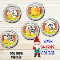 Kawaii Halloween Candy Corn Sayings One Inch Circle Bottle Cap - Seven Dwarves Cottage
