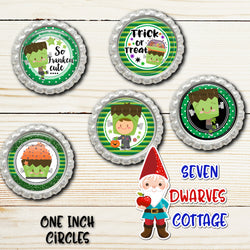 Frankenstein Halloween Cutie One Inch Circle Bottle Cap - Seven Dwarves Cottage