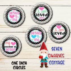 Jesus Loves Me Christian Religious One Inch Circle Bottle Cap - Seven Dwarves Cottage