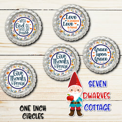 Christian Bible Quotes Orange Floral One Inch Circles Bottle Cap Sheet - Seven Dwarves Cottage