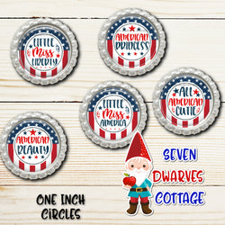 Stars & Stripes Little Miss Sayings One Inch Circle Bottle Cap - Seven Dwarves Cottage