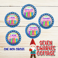 Rainbow Easter Peeps One Inch Circles Bottle Cap - I Love My Peeps Bottle Cap - Seven Dwarves Cottage