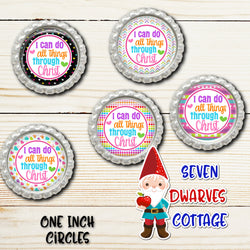 Rainbow I Can Do All Things Through Christ Bible Scripture One Inch Circles Bottlecap - Seven Dwarves Cottage