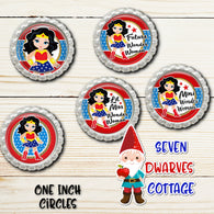 Girls Wonder Woman Inspired One Inch Circle Bottle Cap - Seven Dwarves Cottage