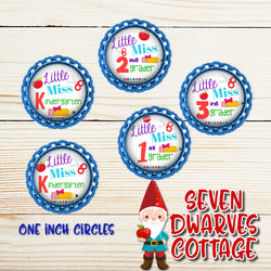 Little Miss Back to School Grades One Inch Circle Bottle Cap - Seven Dwarves Cottage