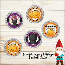 Halloween Kawaii Black Kitty and Pumpkin Cute Sayings One Inch Circles Bottle Cap - Seven Dwarves Cottage