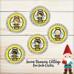 Bumble Bee Cutie Kids One Inch Circle Bottle Cap Printable - Seven Dwarves Cottage