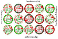 All I Want for Christmas is Bows One Inch Circle Bottle Cap Sheet - Seven Dwarves Cottage
