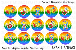 Autism Awareness Rainbows One Inch Bottle Cap Circles - Seven Dwarves Cottage