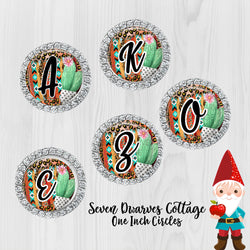 Serape Cactus Alphabet Letters A to Z One Inch Bottle Cap Circles - TWO Sheets - Seven Dwarves Cottage