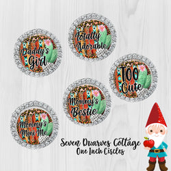 Cactus & Serape Cute Sayings One Inch Bottle Cap Circles - Seven Dwarves Cottage