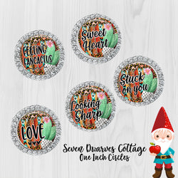 Cactus & Serape Cute Sayings 2 One Inch Bottle Cap Circles - Seven Dwarves Cottage