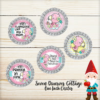 Cute Flamingos Sayings One Inch Bottle Cap Circles - Seven Dwarves Cottage
