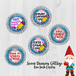 Denim Hearts Back to School Sayings One Inch Bottle Cap Circles - Seven Dwarves Cottage