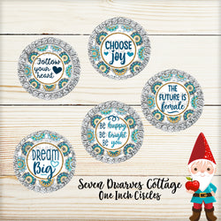 Golden Teal with Glitter Inspirational Empowerment One Inch Bottle Cap Circles - Seven Dwarves Cottage
