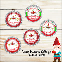 Have a Magical Christmas Unicorn Faces One Inch Circles Bottle Cap Sheet - Seven Dwarves Cottage