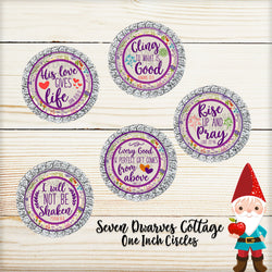 Purple Floral Farmhouse Christian Bible Quotes One Inch Bottle Cap Circles - Seven Dwarves Cottage