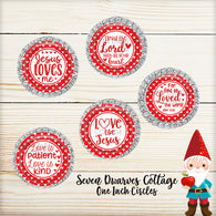 Red Hearts Religious Valentines Sayings One Inch Circle Bottle Cap Sheet - Seven Dwarves Cottage