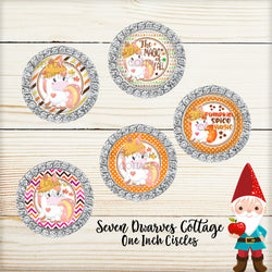 Autumn  & Fall Unicorn Magical Sayings One Inch Bottlecap Sheet - Seven Dwarves Cottage