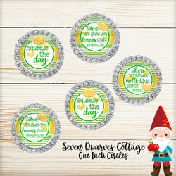 Lemons Inspirational Sayings in Green and Yellow One Inch Circles Bottlecap - Seven Dwarves Cottage