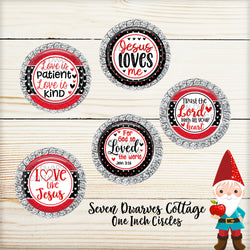 Red & Black Religious Valentines Sayings One Inch Circles Bottle Cap Sheet - Seven Dwarves Cottage