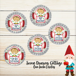 Christmas Silly Elf Sayings One Inch Circle Bottle Cap Sheet - Seven Dwarves Cottage