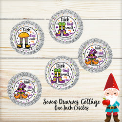 Trick or Treat Smell My Feet Halloween One Inch Circle Bottle Cap Sheet - Seven Dwarves Cottage
