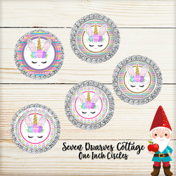 Easter Bunny Unicorn Faces One Inch Circle Bottle Cap - Seven Dwarves Cottage