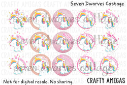Be a Unicorn Pastel Unicorn Sayings One Inch Bottle Cap Sheet - Seven Dwarves Cottage