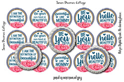Beautiful Inspirtational Sayings in Navy Gold & Pink One Inch Bottle Cap Circles - Seven Dwarves Cottage