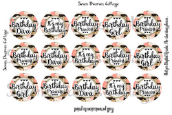 Birthday Girl Coral Rose and Gold One Inch Bottle Cap Circles - Seven Dwarves Cottage