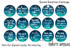 Galaxy Inspirational Quotes, Love You, One Inch Bottle Cap Circles - Seven Dwarves Cottage