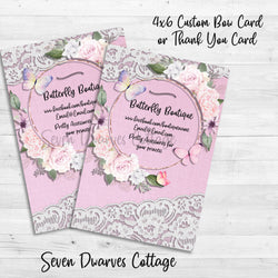 Butterfly Lace Boutique Bow Card or Thank You Note Printable - Seven Dwarves Cottage