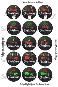 Merry Christmas Chalkboard One Inch Circles Bottle Cap Sheet - Seven Dwarves Cottage