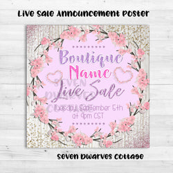 Glittery Cherry Blossoms Live Sale Boutique Poster Announcement - Seven Dwarves Cottage