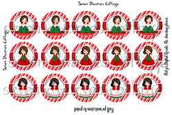 Christmas Angels Striped One Inch Bottle Cap Sheet - Seven Dwarves Cottage