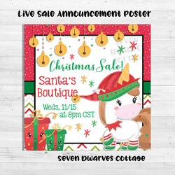 Christmas Elf Unicorn Boutique Live Sale Poster - Seven Dwarves Cottage