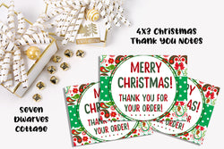 Glittery Christmas Paisley Thank You Client Cards - Seven Dwarves Cottage
