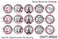 Freebie - Paris Inspired One Inch Bottle Cap Circles - Seven Dwarves Cottage