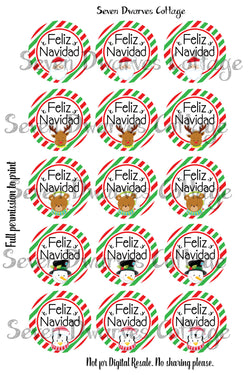 Feliz Navidad Christmas Faces One Inch Circle Bottle Cap Sheets - Seven Dwarves Cottage
